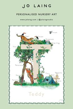 T is for tiger, tree, telephone...This beautiful wall art is sure to add a sense of style and fun to any child's space. Featuring original watercolour artwork, the Fine Art Giclée print comes in four shades and is printed with pigment inks on a luxurious acid-free etching paper. #alphabetart #personalisedart #personalisedgift #bespokeart #initialart #namedart #nurseryart #babygifts #newborngift #illustrator #watercolour #artist Alphabet Nursery, Alphabet Print, Nursery Letters, Nursery Prints, Nursery Art, Personalised Prints, Personalized Baby Gifts, Childrens Gifts, Baby Art