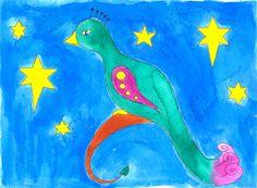 Illustratie gemaakt tijdens de workshop: illustreren met ecoline bij Sterrig