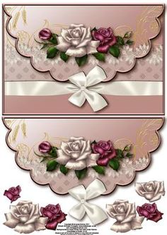 Roses and wrap envelope card with decoupage on Craftsuprint designed by Amanda McGee - A pretty envelope card featuring roses design with a wrap and bow embelishment - Now available for download!