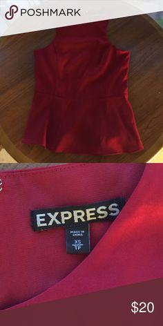 Red peplum top Size xs red peplum to from express zips in the back Express Tops Blouses