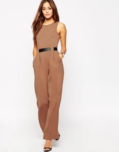 13507f597866 ASOS Tailored Jumpsuit with Belted Waist Detail at asos.com
