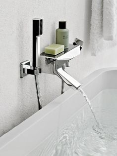 Wall-mounted bathtub mixer with hand shower Faraway Collection by ZUCCHETTI