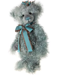 Shades of turquoise and aquamarine in the twists and curls of mohair that has been used to make Vera bear. She has deep soulful eyes and a soft expression, pale colored paw pads and flat foot pads whi My Teddy Bear, Cute Teddy Bears, Bear Toy, Polar Bear, Charlie Bears, Boyds Bears, Christmas Figurines, Tatty Teddy, Build A Bear