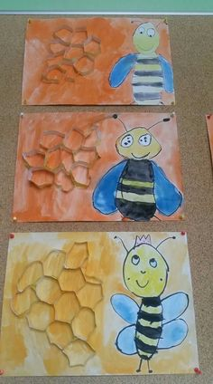 Spring bug crafts for preschool and kindergarten. Creative drawing bee and beehive.