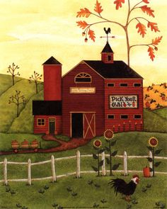 Folk Art Prints | Country Scenes II