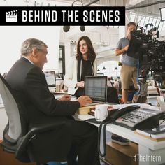 #tbt to Anne Hathaway and Robert De Niro on set of #TheIntern.