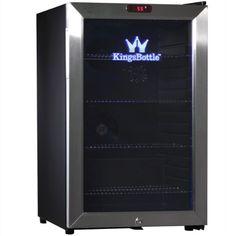 KingsBottle 66-Can Bar Fridge with Glass Door, Mini, Stainless Steel - http://www.storekitchendining.com/kingsbottle-66-can-bar-fridge-with-glass-door-mini-stainless-steel/