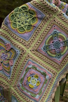 Ravelry: MossyOwls' Whispers of Spring Afghan Crochet Squares Afghan, Crochet Quilt, Crochet Blocks, Knit Or Crochet, Granny Squares, Crochet Blankets, Crochet Mandala Pattern, Granny Square Crochet Pattern, Afghan Crochet Patterns