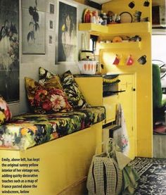 I never thought I would say this but I love those bright yellow walls. #camper #trailer #rv #caravan