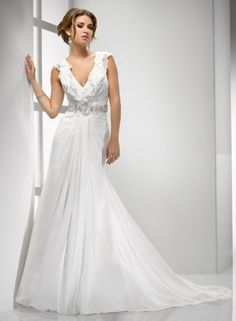 Sheath V-neck Layered Ruffling Neckline Beaded Gathered Skirt Chiffon Wedding Dress-ws0068, $234.95