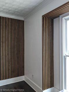 Wood Slat Wall, Wood Slats, Flur Design, Wall Treatments, Bedroom Wall, New Homes, House Design, Cabin Design, Interior Design