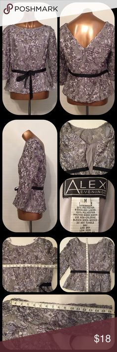 """After 5 Satin Overlay Ribbon & Lace Lined V-Neck Alex Evenings Gray Silver Soutache Belted Women's S/M Blouse V-Back Lined Ribbon Satin Overlay Roses with grey Lace Zipper Back very good pre-owned condition  Measures pit to pit 18.5, length 21"""", sleeve 16.5"""", 8"""" from top to back V Please see all pictures  A-14 EP Alex Evenings Tops Blouses"""