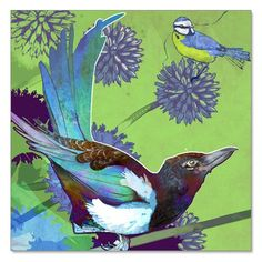 the magpie and the bluetit limited edition unframed print  Shelly Perkins