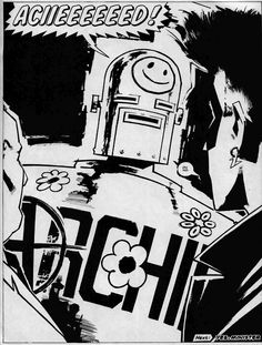 ACIIEEEEEED! - Zenith Phase III, art by Steve Yeowell. 2000AD Prog 627, 1989. Acid Archie - that perfect combo of late 80s rave culture and 50s British boys comics characters that are out of copyright. One of Grant Morrison's finest hours, even after all this time. I love Zenith. 2000ad
