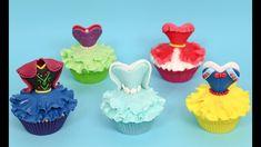 Disney Princess Cupcakes - Elsa, Anna, Snow White, Ariel, Elena by Cakes. Disney Princess Cupcakes, Princess Cookies, Princess Theme Party, Disney Princess Dresses, Princess Cupcake Dress, Disney Princesses, Fondant Cupcakes, Giant Cupcakes, Cupcake Cakes