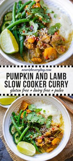 This slow cooker lamb pumpkin curry is bursting with flavour and so easy to prepare. Gluten free, sugar free, dairy free and paleo friendly! Slow Cooker Curry, Healthy Slow Cooker, Healthy Crockpot Recipes, Slow Cooker Recipes, Paleo Recipes, Real Food Recipes, Healthy Soups, Paleo Meals, Curry Recipes