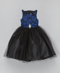 Another great find on #zulily! Royal & Black Floral Lace Overlay Dress - Toddler & Girls by Sophia Young #zulilyfinds