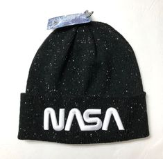 78013367729d28 NASA SPECKLED BEANIE Cuffed Winter Knit Hat Black White Outer Space Men/ Women #BuzzAldrin #Beanie