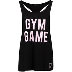 Boohoo Fit Jenna FIT Gym Game Running Vest ($16) ❤ liked on Polyvore featuring crew neck jersey, basic tshirt, basic t shirt and basic tee shirts