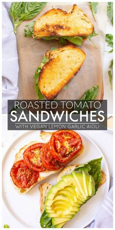 Roasted Tomato Sandwiches with Vegan Lemon Garlic Aioli - This Savory Vegan - So. - Roasted Tomato Sandwiches with Vegan Lemon Garlic Aioli – This Savory Vegan – Soups, Salads, Sa - Vegan Dinner Recipes, Whole Food Recipes, Cooking Recipes, Healthy Recipes, Vegetarian Sandwich Recipes, Veggie Sandwich, Best Vegan Recipes, Vegan Desserts, Vegan Roast Dinner