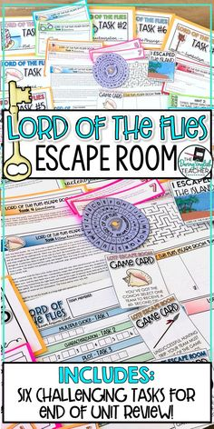 Lord of the Flies Escape Room Activity Teaching Secondary, Secondary School, Classroom Ideas, Ela Classroom, English Classroom, British Literature, Teaching Literature, Free Lesson Plans, English Reading