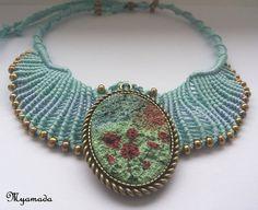 Micromacrame necklace / FREESHIPPING by Myamadasv on Etsy