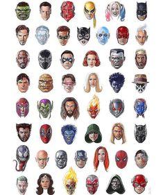 Marvel & DC Comics Character Headshots by Alberto Russo Marvel Comics Art, Marvel Heroes, Marvel Movies, Captain Marvel, Comic Book Heroes, Comic Books Art, Comic Art, Catwoman, Geeks