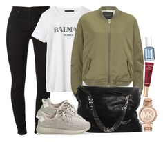 """Yeezy Boost 350, Balmain x H&M and MK"" by camrzkn ❤ liked on Polyvore featuring Maison Scotch, STELLA McCARTNEY, adidas Originals, Michael Kors, Too Faced Cosmetics and Essie"