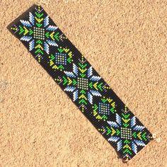 Midnight Desert Flower Bead Loom Bracelet Bohemian by PuebloAndCo