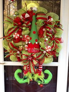 Deco mesh Christmas Elf Wreath. $159.00, via Etsy.