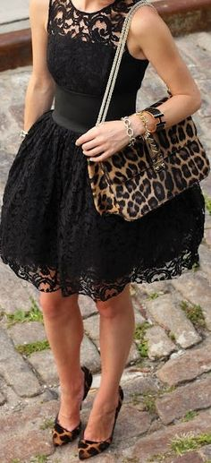 Black lace dress cheetah printed shoes purse. My look for my best girl's wedding! Need to find these shoes.