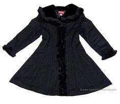 Kate Mack Toddler Girls Coat Couture Gorgeous Dressy Black WOOL Blend Dress Coat