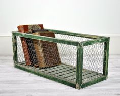 Vintage Wood and Wire Storage Bin ...diy some variation...and casters?