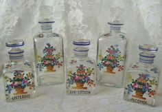19c Victorian English Continental Dresser Vanity Glass Bottle Jar Set Hand-Painted Flowers