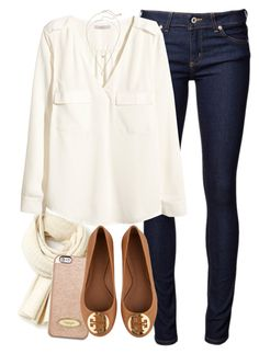"""""""Thanksgiving Outfit-Smart"""" by red-velvet-n-pearls ❤ liked on Polyvore featuring moda, Lacoste, MICHAEL Michael Kors, H&M, Tory Burch e Kendra Scott"""