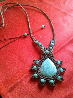 Collana macramè con pietra amazzonite