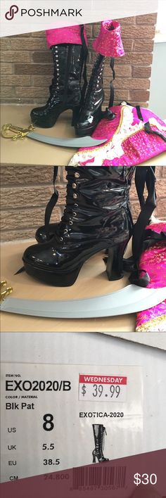 NEW ARRIVAL black patent leather boots Excellent condition black patent leather boots. I wore them once for Halloween. Shoes Heeled Boots