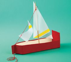 Milk-Carton Sailboat Most crafts couldn& survive the bathtub, but this schooner can tolerate sizable splashes, thanks to waterproof gaffer& tape and vellum. The body is made from an empty milk carton& more incentive for your child to drink up. Crafts For Boys, Diy For Kids, Arts And Crafts, Milk Carton Crafts, Boat Crafts, Make A Boat, Easy Craft Projects, Craft Ideas, Little Doll