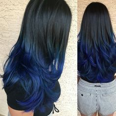 Blue in hair by black to blue ombre hair tips hair care dyed hair. Black Blue Ombre Hair, Navy Hair, Pink Ombre Hair, Dark Blue Hair, Ombre Hair Color, Cool Hair Color, Blue Hombre Hair, Hair Colors, Balayage Color