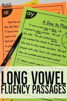 Long Vowels All-in-One Reading Passages are the perfect addition to any primary classroom. Used for skill practice reading comprehension reading fluency cold reads reading assessment homework and more! Each passage focuses on one long vowel skill Reading Comprehension Worksheets, Reading Fluency, Reading Passages, Reading Skills, Reading Strategies, Guided Reading, Vowel Activities, Kindergarten Reading Activities, Vowel Worksheets