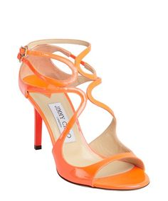Jimmy Choo : neon flame patent leather 'Ivette' strappy sandals : style # 345031201