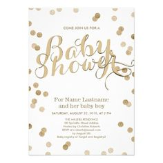 479 best modern baby shower invitations images on pinterest baby faux gold confetti modern baby shower invitation filmwisefo