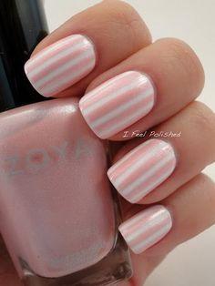 Pastel Pink & White Striping Tape Nail Design.