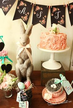 Decorations at a Rustic Easter Party!  See more party ideas at CatchMyParty.com!