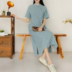 봄과 여름 치파오 드레스 자수 린넨 스커트 넓은 아순시온 여성 라인의 팬 아트 복고풍 코튼 드레스 긴 섹션
