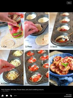 Mini pizzas in muffin tin