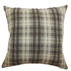 Add flair and definition to your space with this striking throw pillow. This accent pillow features a combination of vertical and horizontal stripes in black, brown, blue and white. The plaid print pattern adds a casual vibe twist to your furniture. This decor pillow is perfect for casual and formal settings. Pair this square pillow with solid colors to add a beautiful contrast in your home design. $55.00  #plaid #pillows #tosspillow #decor