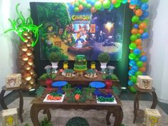 9th Birthday Parties, First Birthday Decorations, 7th Birthday, Crash Bandicoot, Pj Mask Decorations, Ideas Para Fiestas, First Birthdays, Party Themes, Ale