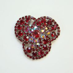 Vintage Ruby Red Rhinestone Large Brooch Pin Silvertone Costume Jewelry by redroselady on Etsy