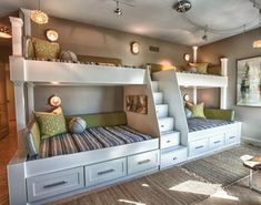 Extraordinary Wooden Bunk Beds Features Brown Mattress Bunk Bed And Whiate Rug Plus Small Black Chairs Furniture. Built In Bunk Beds Ideas Plants For Kids. Alocazia Awesome Home Design Ideas House, Bed Design, Home, Cozy House, New Homes, Bed, Loft Spaces, Built In Bunks, Bunk Beds Built In